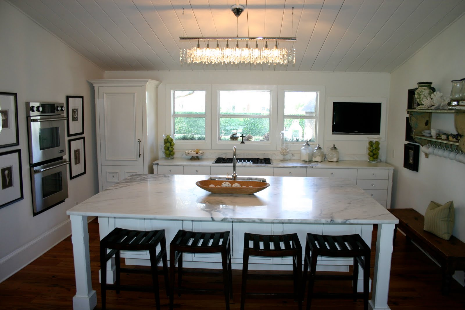 White Kitchen with Crystal Chandelier