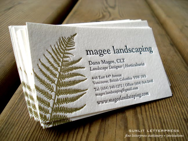 Adventures in letterpress fine letterpress stationery custom above is a photo of custom letterpress business cards we designed and printed for local landscape designer dana magee dana and her husband do beautiful reheart Gallery