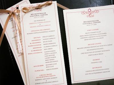 Wedding Programs Menu Cards