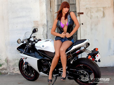 Yamaha YZF-R1 project bike with sexy girl