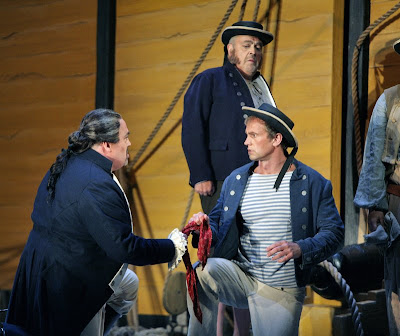Peter Rose (Claggart), Teddy Tahu Rhodes (Billy), and John Duykers (Red Whiskers) in Billy Budd, Santa Fe Opera, 2008 (photo © Ken Howard)