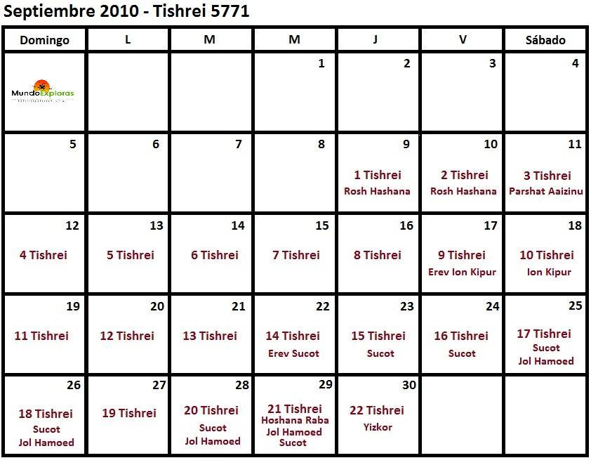 continuación el calendario hebreo del año 5771 (pinchar sobre las