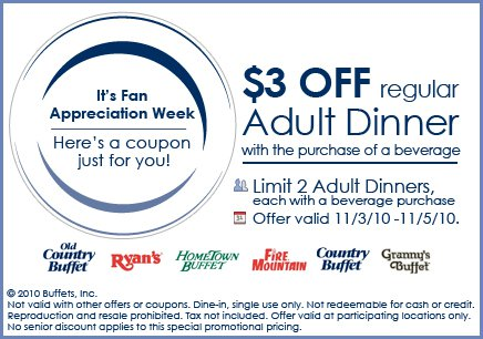 Hometown buffet discount coupons