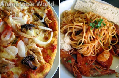 La Galina Pizza and Spaghetti Red Vongole E Gambretti at Amici