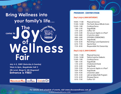 Nestle The Joy of Wellness Fair program schedule
