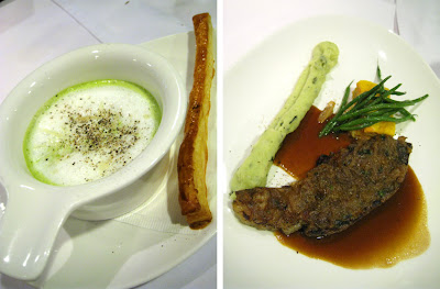 Cheese with Fleuron and Herb Foam soup, Skirt Steak with Onion Ragout at Lolo Dad's Brasserie