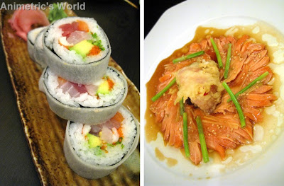 House Special Sushi and New Style Salmon Sashimi at Nama Sakana