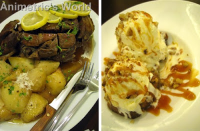 Arni Sto Fourno Me Patates (Slow Roasted Leg of Lamb) and Keyk Mi Banana at Cyma Restaurant