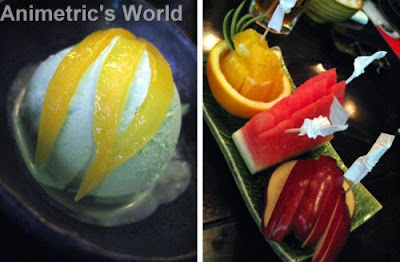 Wasabi Ice Cream and Mixed Fruits at Yaku Japanese Grill