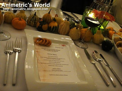 Thanksgiving dinner table setting at M Cafe