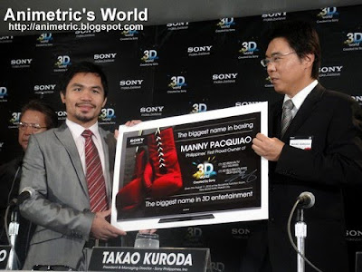 Sony Philippines' Managing Director Mr. Takao Kuroda presents Manny Pacquiao with the Sony 3D TV