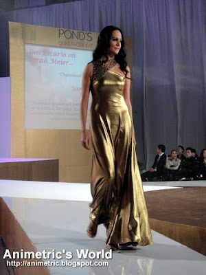 Sarah Meier in a Jun Escario gown