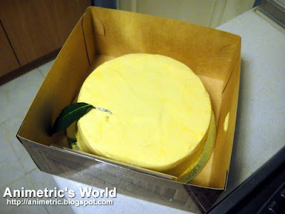 Yellow cake inside the box