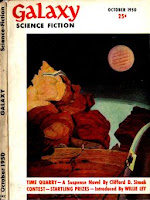 Cover image by David Stone of the inaugural issue of Galaxy Science Fiction magazine dated October 1950, illustrating a scene from the story Time Quarry by Clifford D Simak.