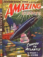 Front cover image of Amazing Stories magazine, November 1941 issue. A painting by Robert Fuqua, illustrating a scene from the novel Convoy to Atlantis by William P McGivern.