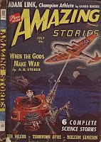 Front cover image of Amazing Stories magazine, July 1940 issue. A painting by Robert Fuqua, depicting a scene from the story When the Gods Make War by A R Steber.