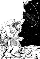 Illustration accompanying the short story titled Instinct by George Oliver Smith. Shows a savage man sitting alone in the open.