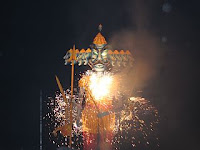 Effigy of Ravan being burnt on the occasion of Dassera
