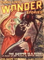 Cover image of the magazine Thrilling Wonder Stories, February 1948 issue. It is a painting by Earle Bergey - illustrating the story The Sleeper is a Rebel by Bryce Walton.