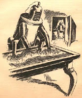 Illustration accompanying the original appearance in Astounding Science-Fiction, April 1943, of short story Open Secret by Henry Kuttner and C L Moore