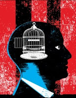 Illustration by Carl Wiens accompanying the original online copy at Tor.com of short story The Presidents Brain is Missing by John Scalzi