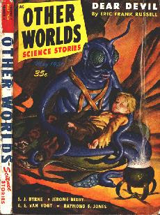 Cover painting by Malcolm Smith of Other Worlds Science Stories magazine, May 1950 issue. It shows a scene from the story Dear Devil by Eric Frank Russell - Martian benefactor of humanity holding a human child.