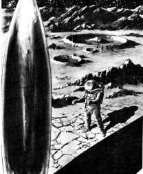 One of the illustrations accompanying the original publication in Galaxy magazine of short story First Man by Clyde Brown. Image shows a protagonist on the surface of moon - first man to land there.