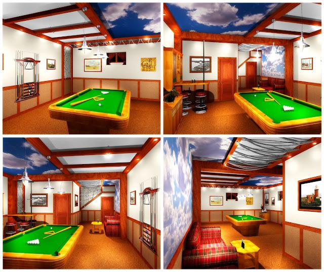 Дизайн бильярдной в цокольном этаже коттеджа в п.Таватуй.