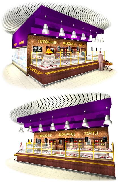 Дизайн кондитерского отдела супермаркета