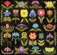 Funky Flower Garden on black fabric