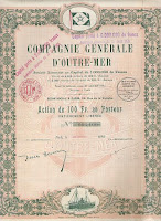share of the Compagnie Générale d'Outre-Mer showing shipping flag