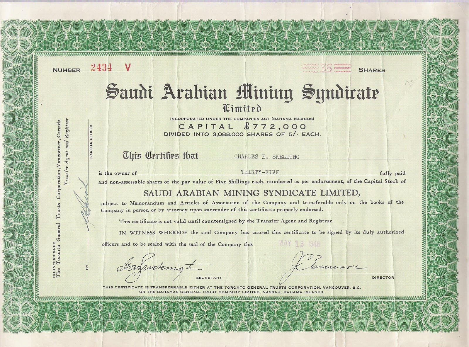 Frankys scripophily blogspot mahd adh dhahab king solomons 1948 stock certificate of the saudi arabian mining syndicate incorporated in the bahamas yadclub Images
