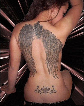 Memorial cross tattoo with angel wings on back. Arm Bands Tattoos