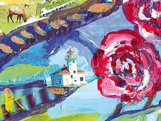 Dream Voyage of a Rose Fun Collage Painting Greeting Card