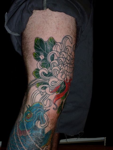 Cutes Tattoo Chrysanthemumkoi Leg