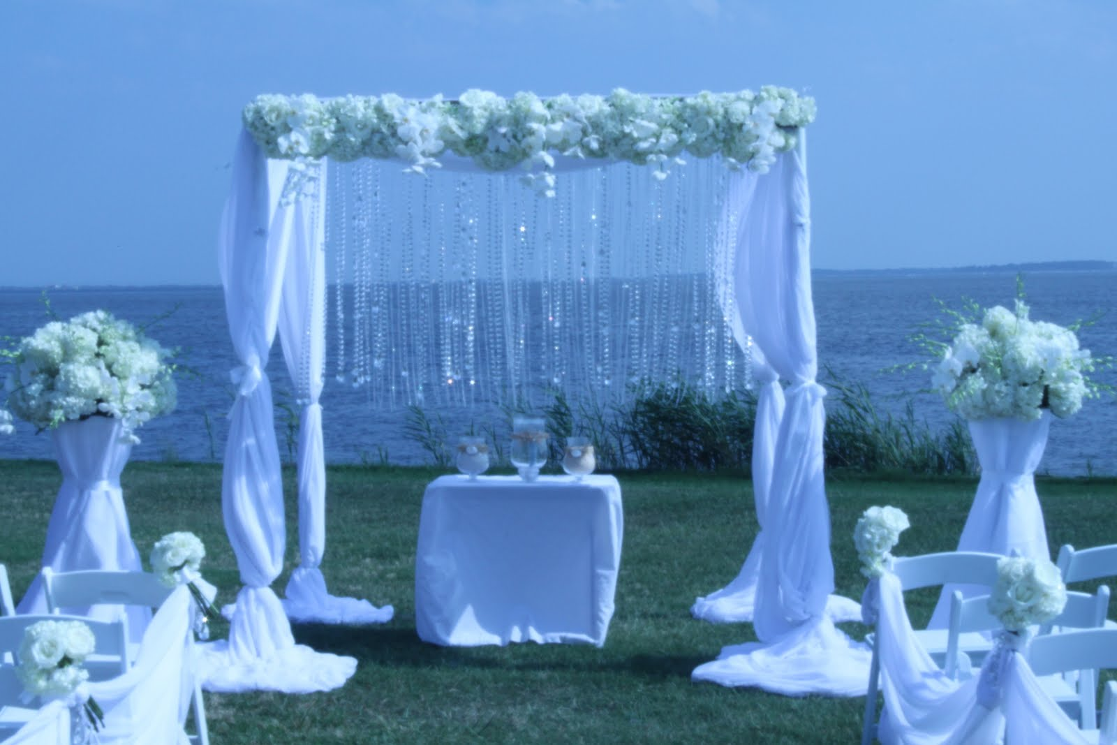 Rehoboth beach wedding with our crystal fabric canopy davinci florist rehoboth beach wedding with our crystal fabric canopy junglespirit
