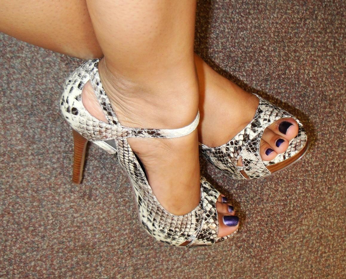 Snakeskin Ankle Strap Heels