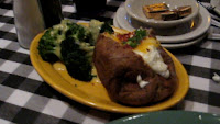 Click to enlarge - Potato with all the fixings and broccoli with cheese sauce