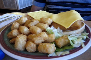 JandD's double fish sandwich with Tater Tots