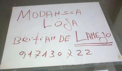'MODAMSSA LÓJA' em vez de 'MUDANÇA DE LOJA'