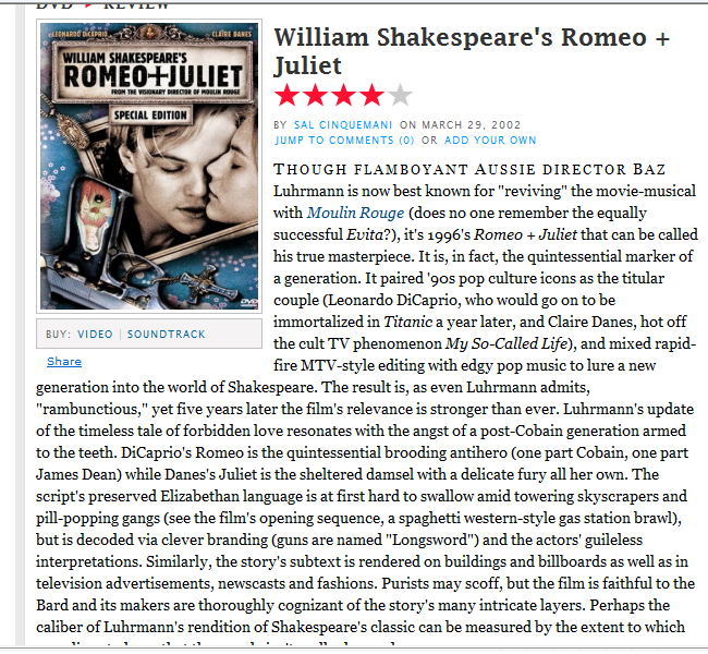 romeo and juliet film review A film guide that looks at romeo + juliet romeo and juliet: film guide a film guide that looks at romeo and juliet review and make film.