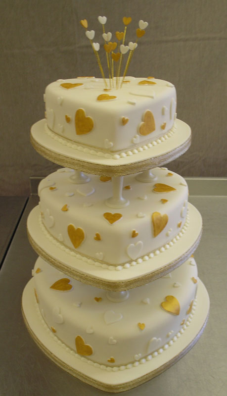 White And Gold Hearts On The CakeWedding