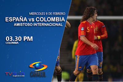 Amistoso internacional: España vs Colombia este miercoles por Caracol