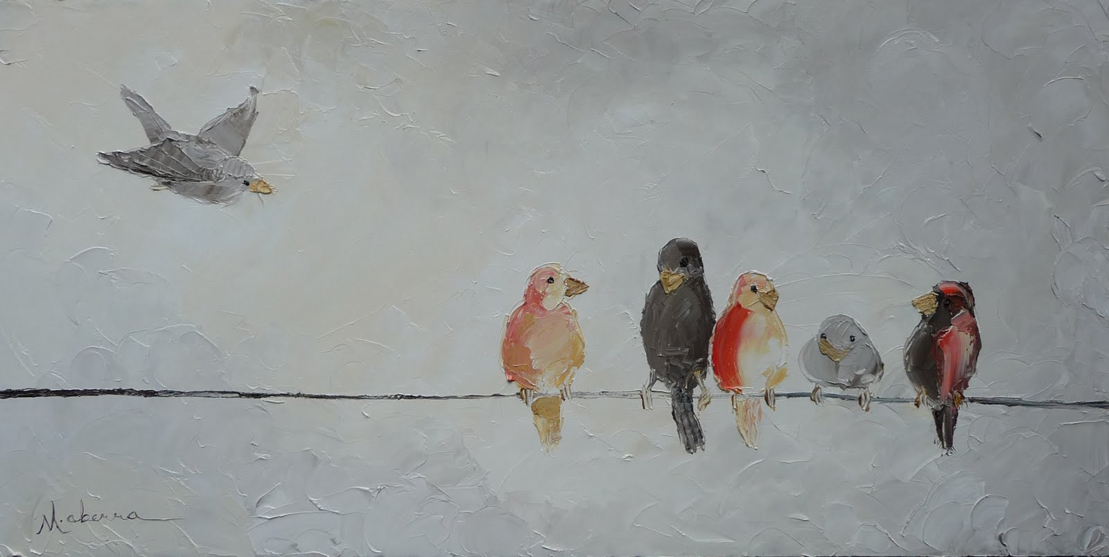 Birds on a Wire - first palette knife painting