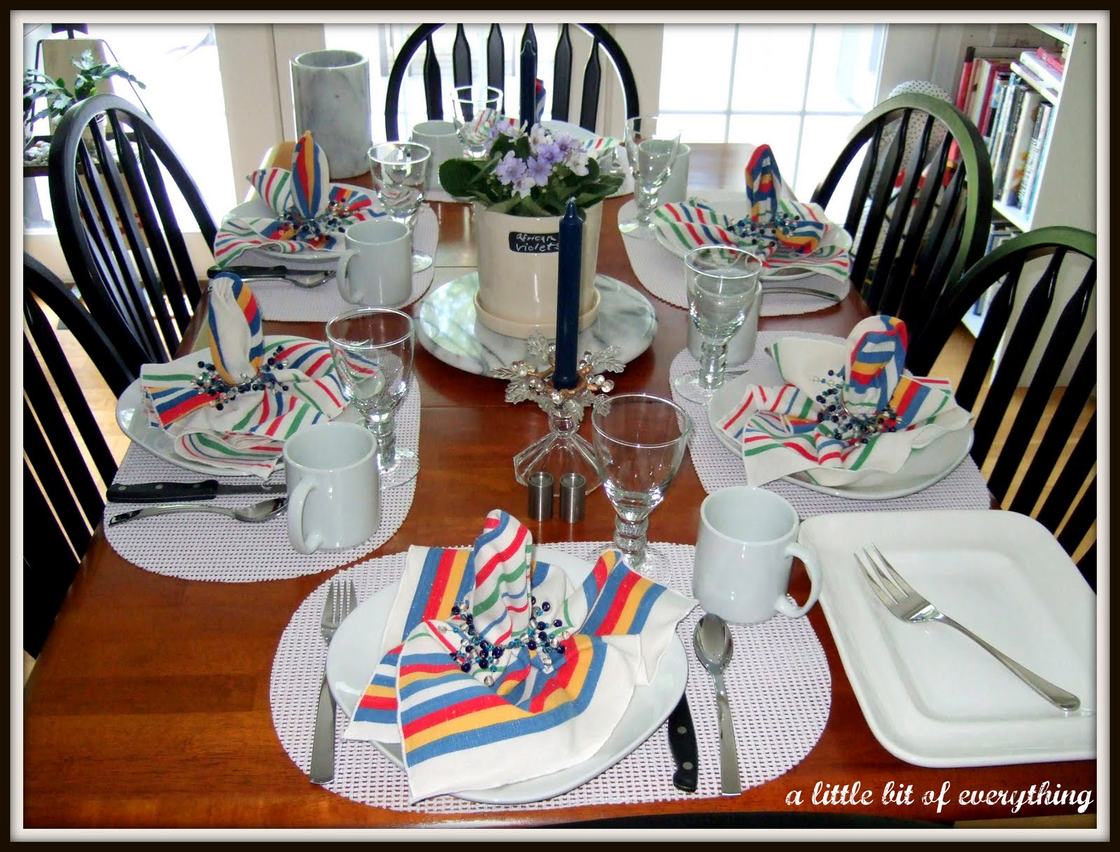 a little bit of everything table settings casual dinner. Black Bedroom Furniture Sets. Home Design Ideas