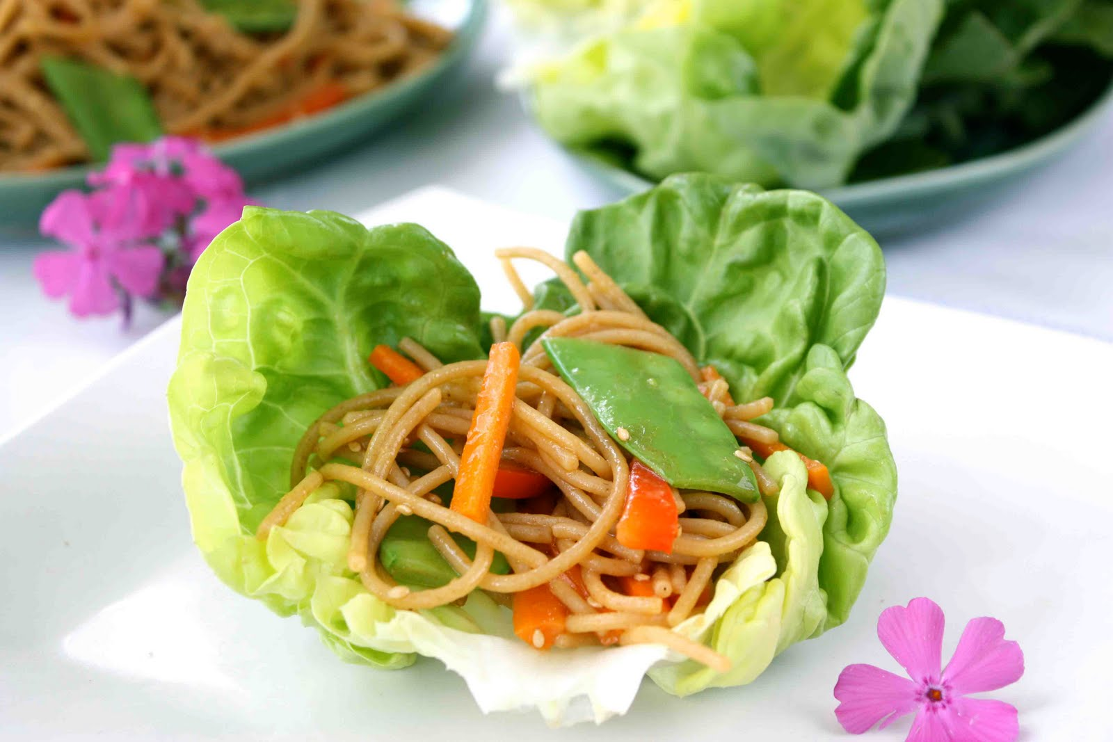 Soba Noodle & Vegetable Lettuce Wraps with Hoisin & Chili Sauce Recip...