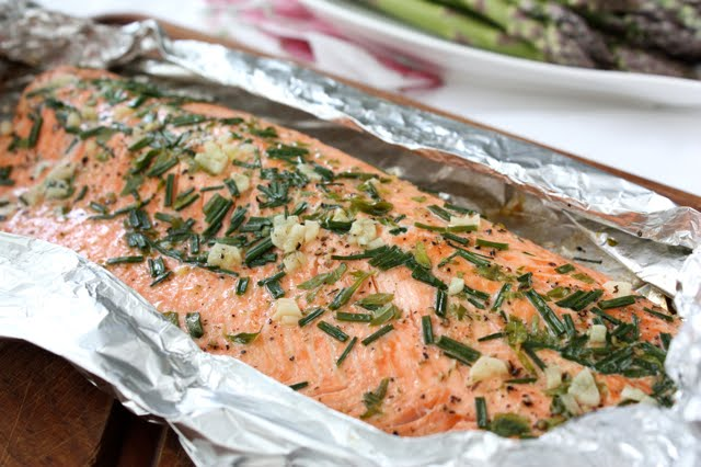 Barbecued Salmon in Foil with Tarragon, Chives & Vermouth