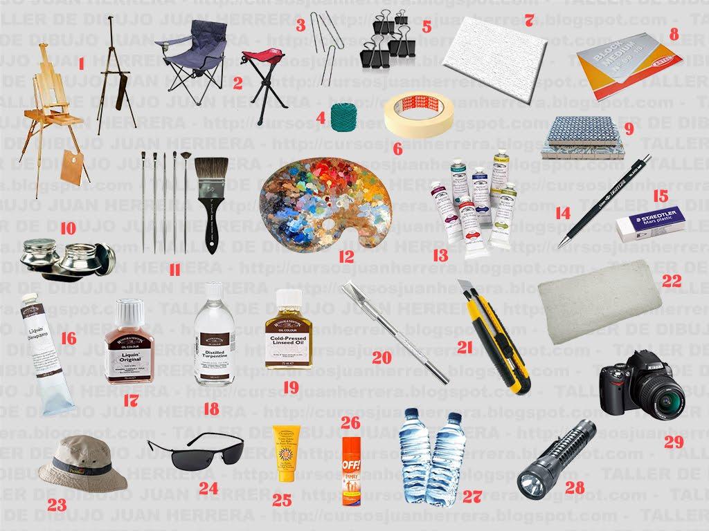 Taller de arte juan herrera lista de materiales para - Materiales para pintar ...