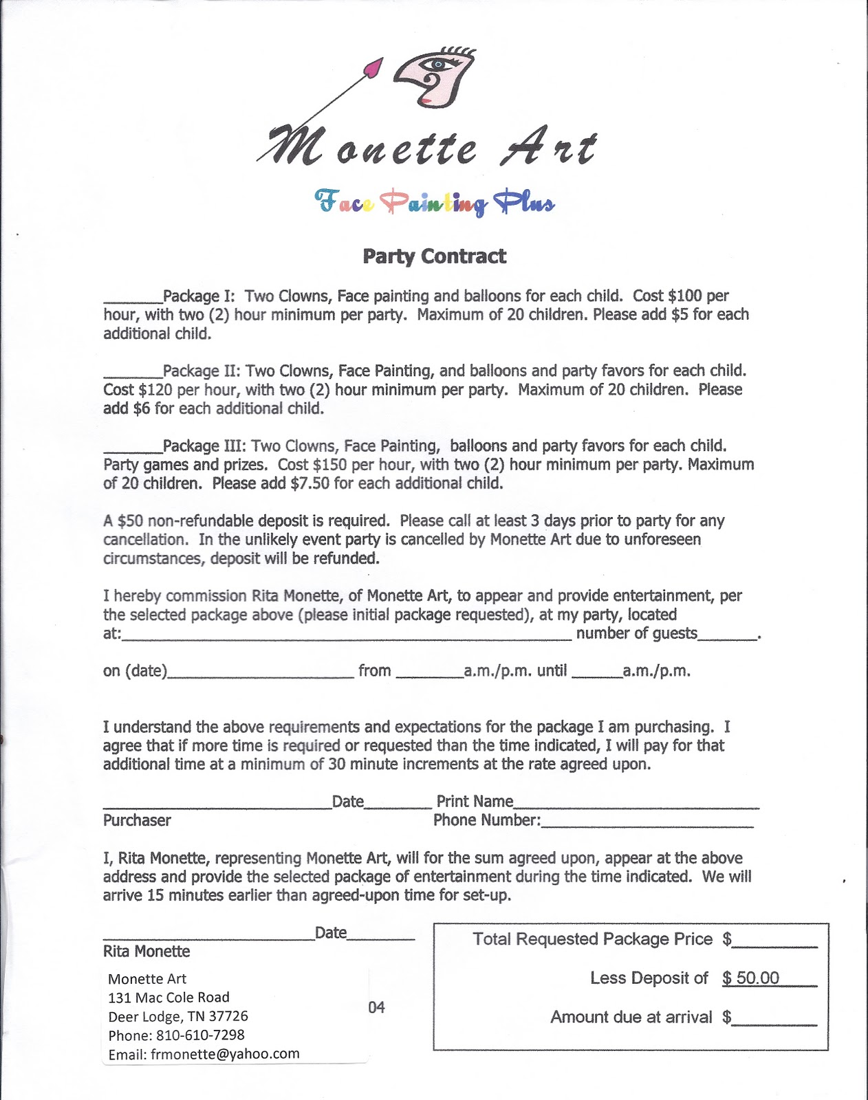 Face Painting Plus Show Schedule And Reviews Party Contract