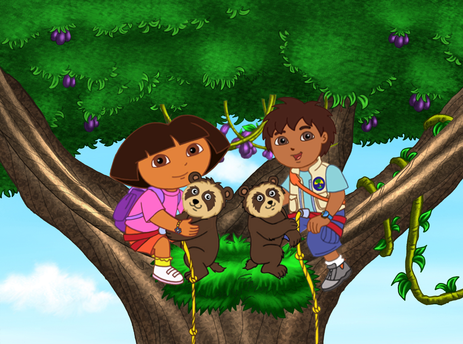 Dora The Explorer And Diego In A Tree